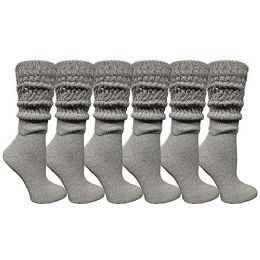 Yacht & Smith Womens Cotton Extra Heavy Slouch Socks, Boot Sock Solid Heather Gray 6 pack