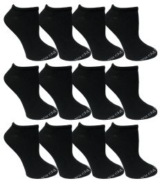 Yacht & Smith Womens 97% Cotton Low Cut No Show Loafer Socks Size 9-11 Solid Black Bulk Buy 480 pack
