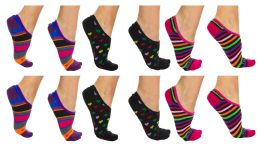 Yacht & Smith Womens Cotton No Show Loafer Socks With Anti Slip Silicone Strip Assorted Prints 120 pack