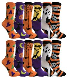 Yacht & Smith Womens Halloween Crew Socks Assorted Prints 360 pack