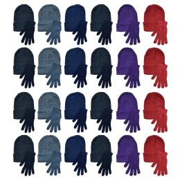 Yacht & Smith Womens Warm Winter Hats And Glove Set Assorted Colors 48 Pieces 48 pack