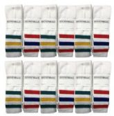 Mens White With Stripes Tube Sock BULK PACK