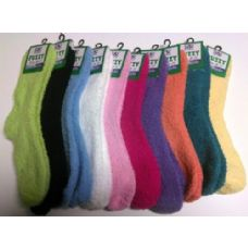 Yacht & Smith Women's Solid Colored Fuzzy Socks Assorted Colors, Size 9-11 120 pack