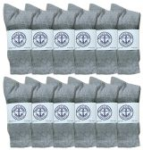 Junior Boys Cotton Gray Crew Socks Size 9-11