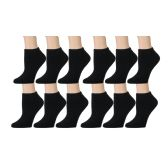 Yacht & Smith Kids Cotton Quarter Ankle Socks In Black Size 6-8 60 pack