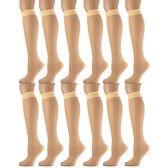 12 Pairs of SOCKSNBULK Trouser Socks for Women, 20 Denier Knee High Dress Socks (Sun Tan)