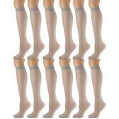 12 Pairs of excell Trouser Socks for Women, 60 Denier Opaque Knee High Dress Socks (Taupe)