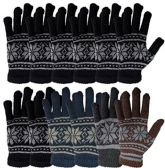 12 Pairs Of excell Wool Gloves - Mens Womens, Stretchy One Size (Assorted Snowflakes)