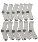 12 Pairs Of excell Kids Cotton Crew Socks With Gray Heel And Toe