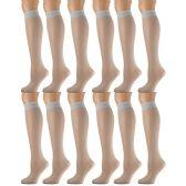 12 Pairs of excell Trouser Socks for Women, 60 Denier Opaque Knee High Dress Socks (Silver Gray)