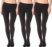 3 Pack Of Womens Mod & Tone Fleece Lined Brushed Footed Tights for Winter (3 Pairs Black, Med/Large)