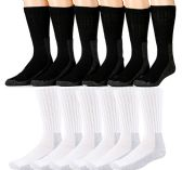 18 Pairs of Excell Mens Steel Toe Socks, Thick Boot Sock, Heavy Duty Industrial Work (10-13)