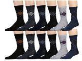 12 Pairs of SOCKSNBULK Mens Dress Socks, Patterned Stylish Cotton Blend (Pack A)