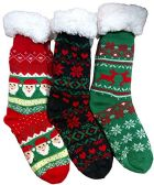 Christmas Printed Socks, Fun Colorful Festive, Crew, Knee High, Fuzzy, Or Slipper Sock by WSD (3 Pairs Sherpa Lined Slipper Socks)