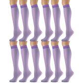 12 Pairs of excell Trouser Socks for Women, 20 Denier Knee High Dress Socks (Purple)
