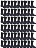60 Pairs of Mens Sports Crew Socks, Wholesale Bulk Pack Athletic Sock, (Black)
