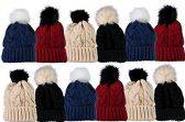 12 Units Of SOCKSNBULK Mens Womens Warm Winter Hats In Assorted Colors, Mens Womens (Pom Ribbed Beanies (Solid))