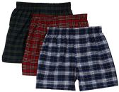 excell Men's 3-Pack Assorted Plaids Woven Boxer Shorts Underwear (Large)