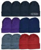 12 Piece Ladies Winter Toboggan Beanie Hats by excell Thermal Sport