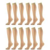 12 Pairs of excell Trouser Socks for Women, 60 Denier Opaque Knee High Dress Socks (Beige)