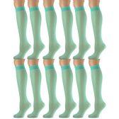 12 Pairs of excell Trouser Socks for Women, 20 Denier Knee High Dress Socks (Turquois)