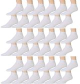 SOCKSNBULK Kids Cotton Low Cut Cotton Ankle Socks (4-6, 36 Pairs Value Pack (White))
