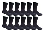 12 Pair of Excell Mens Athletic Sports Quality Crew Socks Ringspun Cotton (Black)