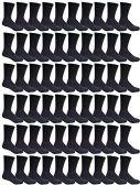 180 Pairs Case of Mens Sports Crew Socks, Wholesale Bulk Pack Athletic Sock, by WSD (Black)