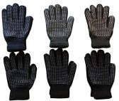 6 Pairs Of Mens excell Winter Heavy Knit Rubber Gripper Gloves