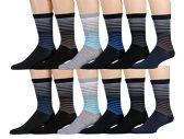 12 Pairs of SOCKSNBULK Mens Dress Socks, Patterned Stylish Cotton Blend (Pack B)