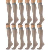 12 Pairs of excell Trouser Socks for Women, 20 Denier Knee High Dress Socks (Gray Mist)