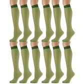12 Pairs of excell Trouser Socks for Women, 20 Denier Knee High Dress Socks (Hunter)