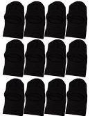Wholesale Sock Deals Winter Ski Mask, Black 3-Hole Cold Weather Cover for Men and Women (12 Pack - 1 Hole with Visor)