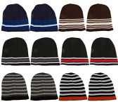 12 Units Of SOCKSNBULK Mens Womens Warm Winter Hats In Assorted Colors, Mens Womens  (Dark Stripes)