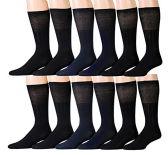 12 Pairs Diabetic Socks for Men, Non-Binding Diabetic Dress Socks Circulatory Crew Socks (Black (Diabetic Dress Socks))