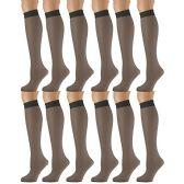 12 Pairs of SOCKSNBULK Trouser Socks for Women, 60 Denier Opaque Knee High Dress Socks (Off Black)