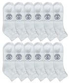 12 Pack Of excell Mens White Quarter Length Terry Sole Super Soft Ankle Socks