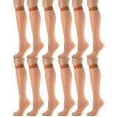 12 Pairs of excell Trouser Socks for Women, 60 Denier Opaque Knee High Dress Socks (Pecan)