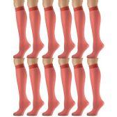 12 Pairs of excell Trouser Socks for Women, 20 Denier Knee High Dress Socks (Red)