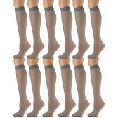 12 Pairs of excell Trouser Socks for Women, 60 Denier Opaque Knee High Dress Socks (French Gray)