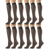 12 Pairs of excell Trouser Socks for Women, 60 Denier Opaque Knee High Dress Socks (Jet Black)