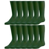 12 Pairs of excell Girls Fancy Cable Knit Knee High Socks, Solid Colors, Uniform Socks (Hunter Green, 6-7.5)