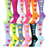 Womens Knee High Socks Assorted Colors, Cotton Boot Socks Assorted (Argyle 12 pack