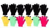12 Pairs of WSD Winter Touchscreen Gloves for Men and Women, Warm Hands Fingers Outdoors (Assorted B, Womens)