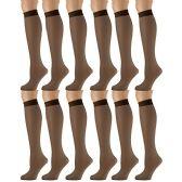 12 Pairs of excell Trouser Socks for Women, 20 Denier Knee High Dress Socks (French Coffee)