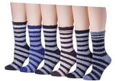 Yacht & Smith Men's Warm Cozy Fuzzy Socks, Stripe Pattern Size 10-13 6 pack