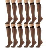 12 Pairs of excell Trouser Socks for Women, 20 Denier Knee High Dress Socks (Jet Brown)