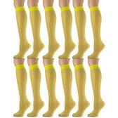 12 Pairs of excell Trouser Socks for Women, 20 Denier Knee High Dress Socks (Yellow)