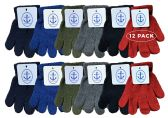 12 Pairs Of excell Kids Solid Color Winter Warm Strechable Magic Gloves