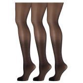 3 Pack of Mod & Tone Sheer Support Control Top 30D Womens Pantyhose (Black, QN-1)